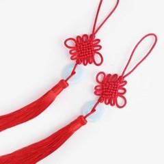 옥 장식 적색 전통 매듭 노리개 (2개)