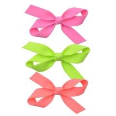 형광리본 헤어핀(3P)-핑크,연두,코랄