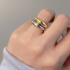 CL135 [1+1] Shining Bulging Ring Set