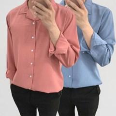 어깨넓어보이는 얇은 루즈핏 오픈카라 쿨링 셔츠남방