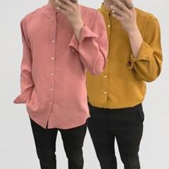 어깨넓어보이는 얇은 차이나넥 루즈핏 컬러 셔츠남방