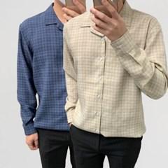어깨넓어보이는 기본 루즈핏 오픈카라 체크 셔츠남방