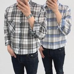 어깨넓어보이는 캐주얼 루즈핏 글렌 체크 면 셔츠남방
