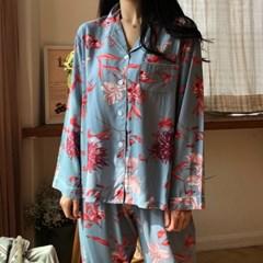 플라워리 레이온 파자마 세트 잠옷