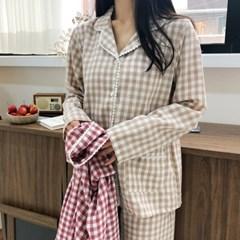 코지 레이스 체크 환절기 잠옷 파자마