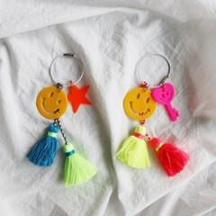 네온 테슬 스마일 열쇠 백참 키링 (2color)