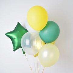 아임파인 노랑 초록 파인애플 별호일 고무 풍선세트