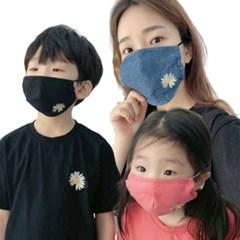 엄마랑딸커플 일회용 데이지 꽃무늬 데님 중형 대형 일반면마스크