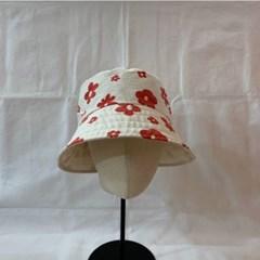 연예인 동백이 플라워 배색 양면 벙거지 버킷햇 모자