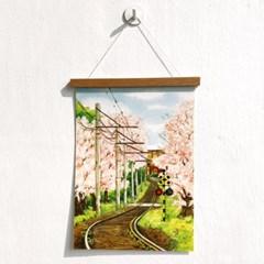 [A3 포스터, 캔버스액자] 벚꽃 기차길