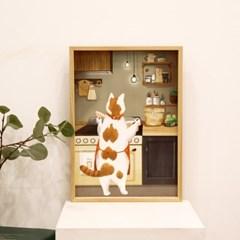 [A3 포스터, 캔버스액자] 야식은 라면 고양이