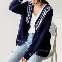 꽃봉우리 루즈핏 브이넥 니트 가디건(knit554)_(1813223)