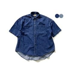 오버핏 데님 하프 셔츠 OVERFIT DENIM HALF SHIRTS(2color)
