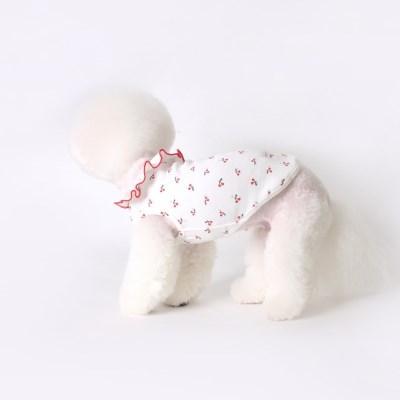 [T.앵두프릴민소매]Cherry frill sleeveless_White