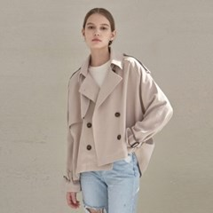 SHORT CROP TRENCH COAT_PINK BEIGE