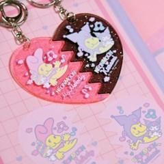 [마이멜로디 쿠로미] Rainbow Melody 1/2 Heart Keyholder