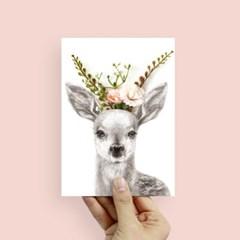 플라워포켓 사슴 스탠딩카드