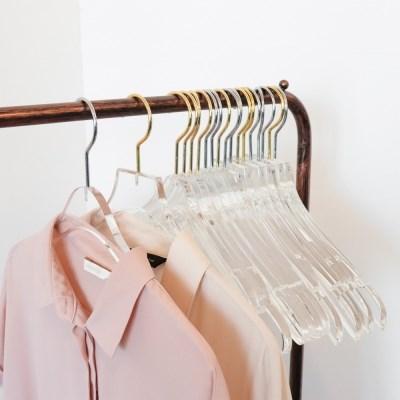 명품 고급매장 투명 아크릴옷걸이 골드 크롬