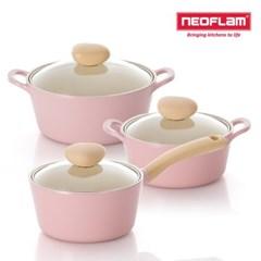 네오플램 레트로 냄비 3종 세트 핑크 유리뚜껑