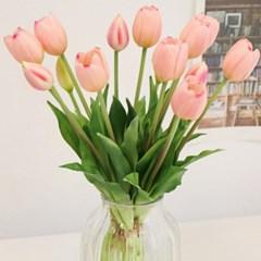 로맨틱 핑크 튤립 묶음 - 인테리어조화