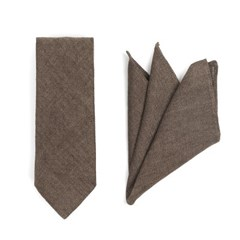 CRS CHECK LINEN POCKET SQUARE & TIE (brown)