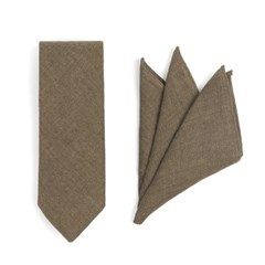 CRS CHECK LINEN POCKET SQUARE & TIE (khaki)