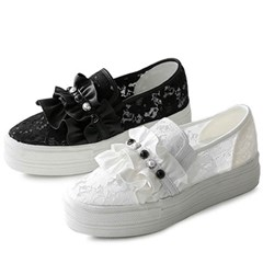 kami et muse Frill & lace tall up slip on sneakers_KM20s047
