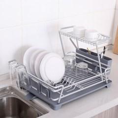 모던 식기건조대 물빠짐 2단 싱크대 설거지 그릇 정리대