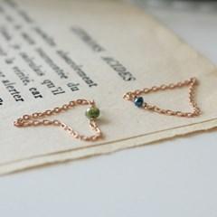 14k 러프 다이아몬드 로즈 체인 반지(2type)(4월탄생석)
