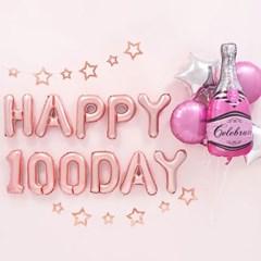 백일파티 장식세트 [샴페인병 핑크 HAPPY 100DAY 로즈골_(12008484)