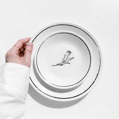 튤립 드로잉 접시