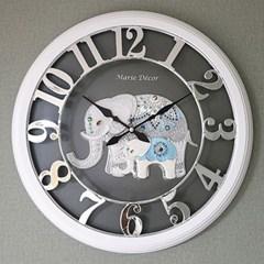 예쁜 인테리어 Wall Clock 넘버링 우드 코끼리 실버