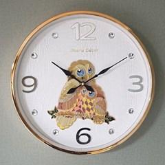 예쁜 인테리어 Wall Clock 컬러링 부엉이 골드