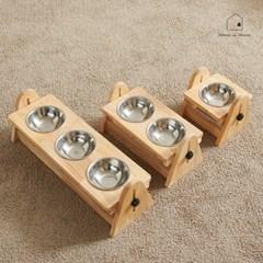 높이각도조절 강아지 고양이 그릇 원목식탁 세트 RR045_(2586858)