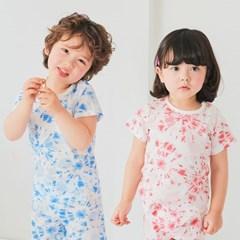 [따솜] 워터칼라 블루 오가닉 5부 자가드 아동 실내복_(1638123)