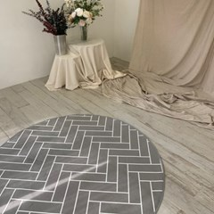 간절기 헤링본 극세사 거실 침실 원형 러그 170x170cm_(1773248)