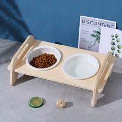 5H펫 원목식기 강아지 고양이 밥그릇 애견식탁 2구 경사형