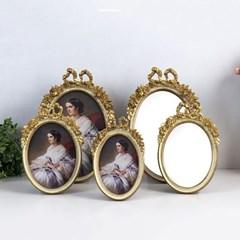 129 타원 리본 액자 거울 5종 (아이보리)