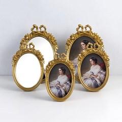 129 타원 리본 액자 거울 5종 (골드)