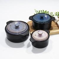로얄벤톤 무균열 벤톤 내열냄비 내열찜기 뚝배기 3종