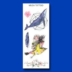 MEGA TATOO MTS 13 - 꽃구름 타투스티커 헤나 문신 컬러 드로잉