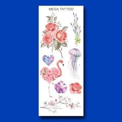 MEGA TATOO MTS 06 - 가든플라워 타투스티커 헤나 문신 컬러 드로잉