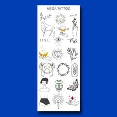 [MEGA TATOO MTS 03- 메멘토 타투스티커 헤나 문신 컬러 드로잉