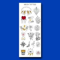 MEGA TATOO MTS 01 - 문클라우드 타투스티커 헤나 문신 컬러 드로잉