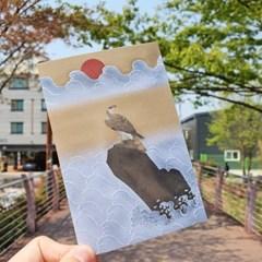 전통민화 일출 앞의 매 디자인 엽서