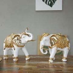 풍수재물 화이트 금장식 코끼리 2P