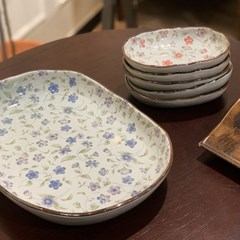 일본 식기 그릇 도자기 아리타 오발 접시 부페 6p 홈세트