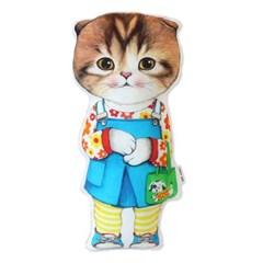 고양이삼촌 쿠션 - 청치마 마롱
