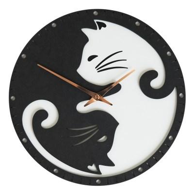 귀여운 고양이 두마리 입양하세요~ 블랙앤화이트 고양이 벽시계