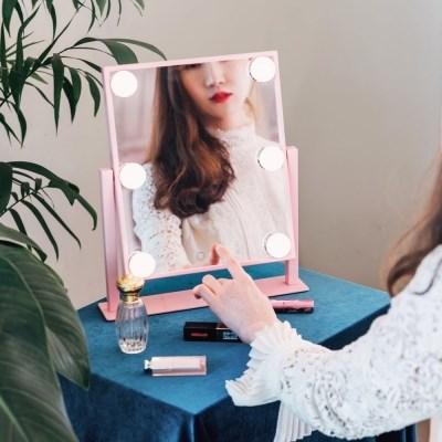 [라쏨] 리퍼브 LED 조명 화장 거울 마이스위트데이 핑크/블랙